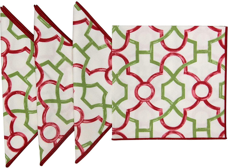 "18""x18 Cotton Printed Pink & Green Lattice Fabric Napkins, Set of 4"