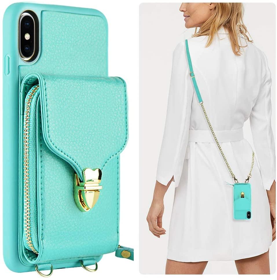 iPhone XR Wallet Case, JLFCH iPhone XR Zipper Wallet Leather Case with Card Slot Holder Zipper Closure Buckle Crossbody Purse Handbag Strap for Apple iPhone XR 6.1 inch - Mint Blue