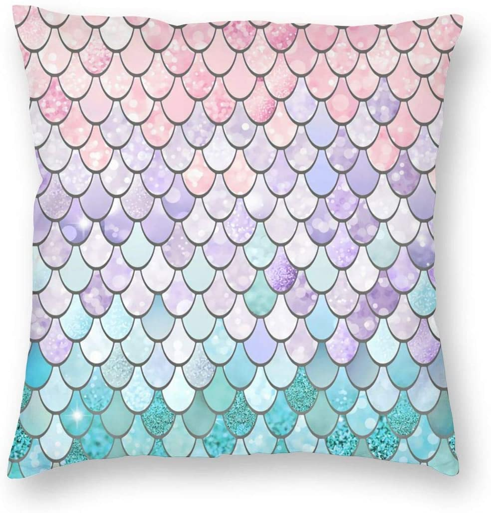 antcreptson Watercolor Mermaid Scales Throw Pillow Cover Bright Summer Beach Decor Cushion Case for Sofa Couch 18 x 18 Inch