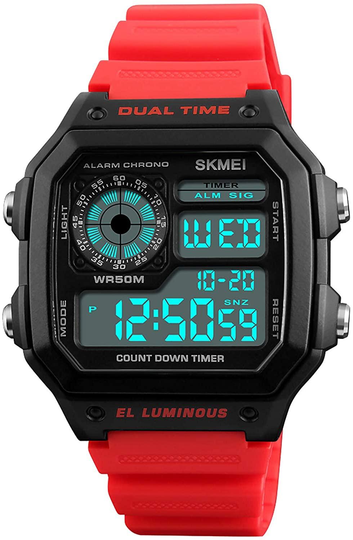 PASOY Mens Digital Multi-Function 2 Time Rubber Alarm Stopwatch Countdown Backlight Swim Waterproof Watch