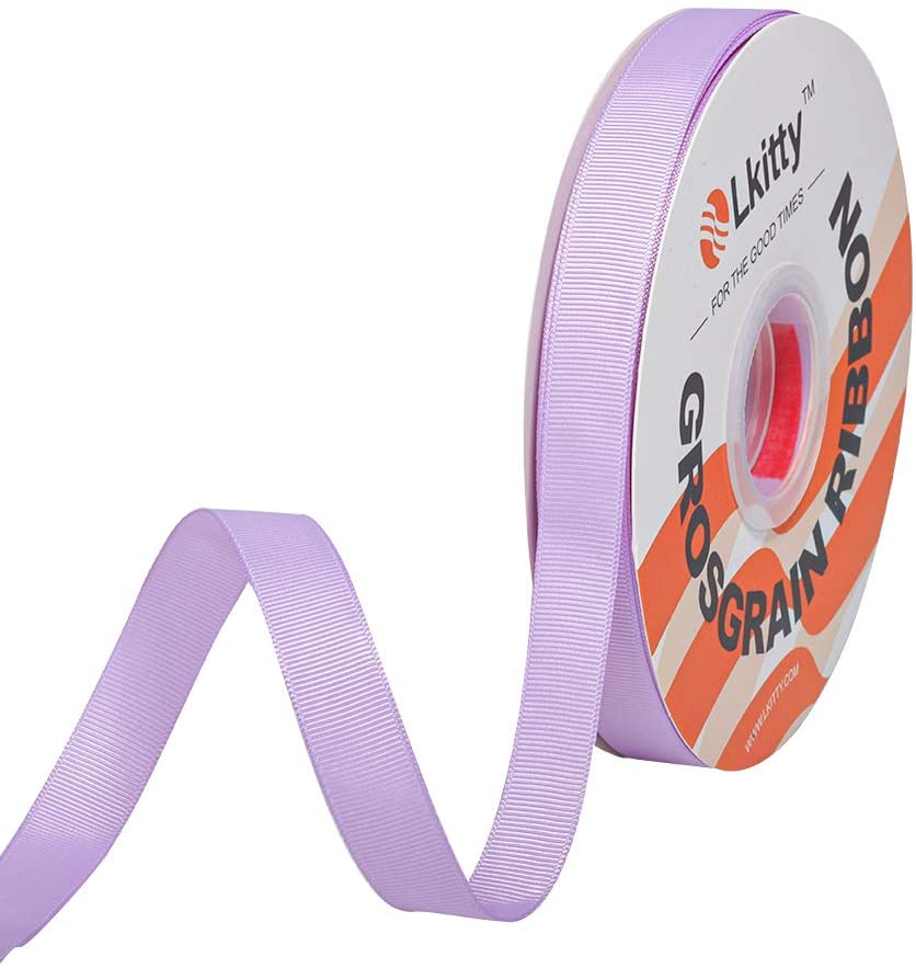 Lkitty 1/2 inch x 50yard/roll Grosgrain Ribbon Crafts Fabric Solid Ribbons for DIY Gifts Wrapping Bow Party Decoration Wedding Flowers Hair Accessories,Width:13mm(1/2