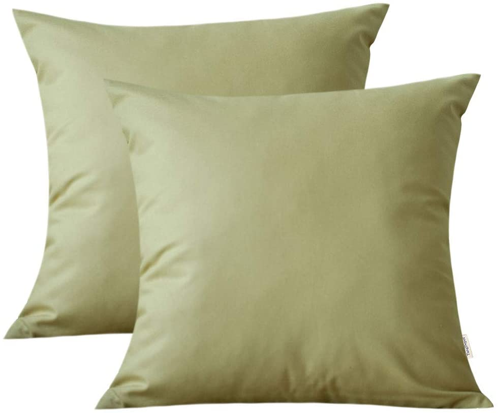 TangDepot Set of 2, 100% Cotton Fine Canvas Decorative Pillow Covers, Cushion Covers - (14x14 2 Pieces, Khaki)