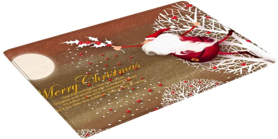 Tangshi Merry Christmas Door Mats Rug Non-Skid Slip Indoor Outdoor Kitchen Entryway Doormat 50x80cm Santa Claus Pattern Floor Mat Welcome Doormat