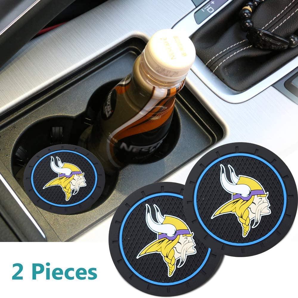 2pcs 2.8 in Vikings Logo Insert Coaster,fit BMW Toyota Mercedes Benz Chrysler Audi Lexus Honda Nissan RAM Jeep Cadillac All Car Cup Accessories