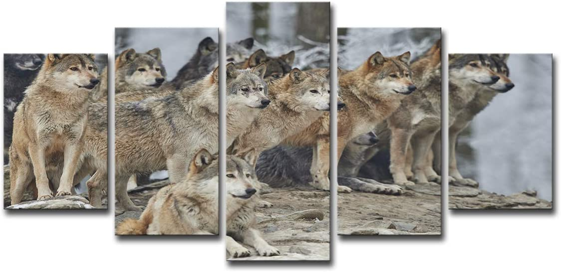 Mytinaart Paintings 5 Pieces Canvas Art Painting Printed Brown Wolf Group Wall Art Print Framed Canvas Painting Home Decor for Living Room Decoration