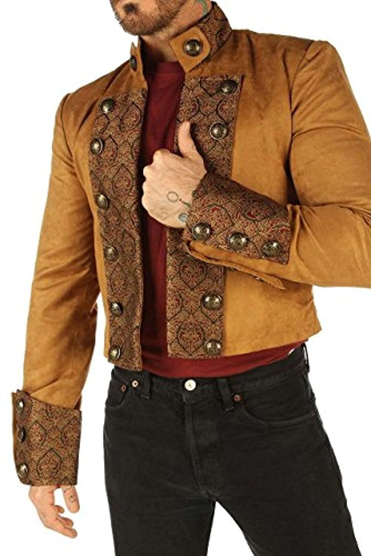 Tan Brown Velvet Gothic Military Men's Jacket Top Steampunk SPSS