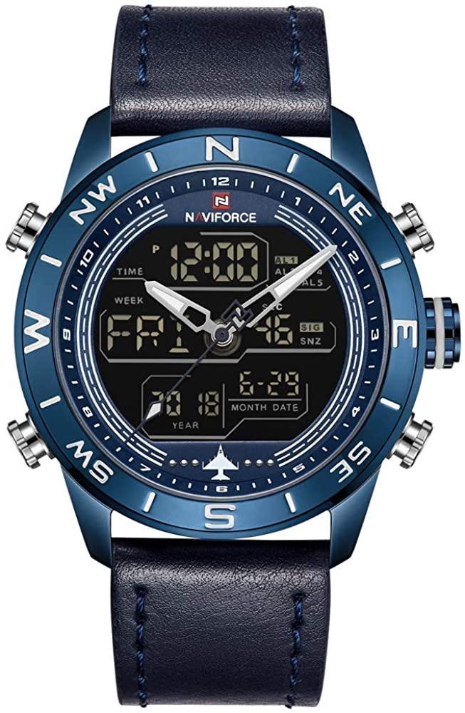NAVIFORCE Mens Waterproof Sport Watches Leather Digital Analog Watch Luxury Casual Dual Time Wristwatch