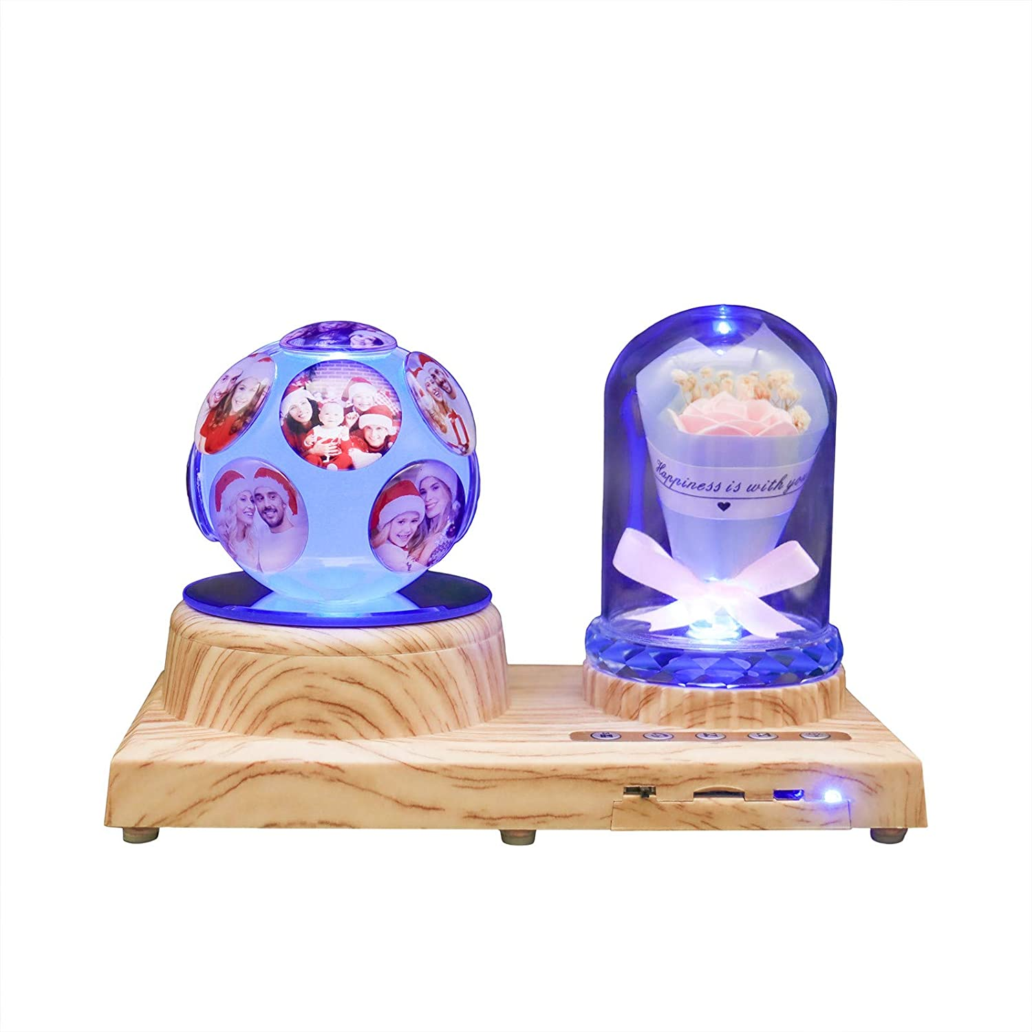 Custom 11 Photo Personalized Night Light 3D Crystal Lamp Custom Photo Picture Engraved Led Light 7 Color with Bluetooth Rose Wood Base Personalized Gift for Women PAPA Christmas Decoration