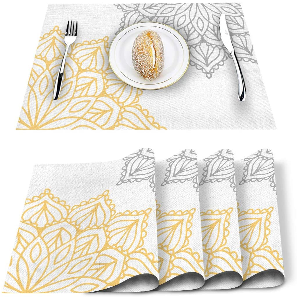 Artwork Store Elegant Dahlia Flowers Yellow Grey Placemats Set of 6, Cotton Linen Heat Resistant Table Mats Non-Slip Washable Placemat for Holiday Banquet Dining Kitchen Table Decor