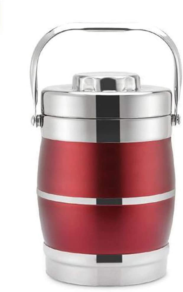 Lunch Containers 3 Tiers Thermos Containers Stainless Steel Thermal Insulated Food Container Warmer Flask Soup Lunch Box Wine Red 2.2L