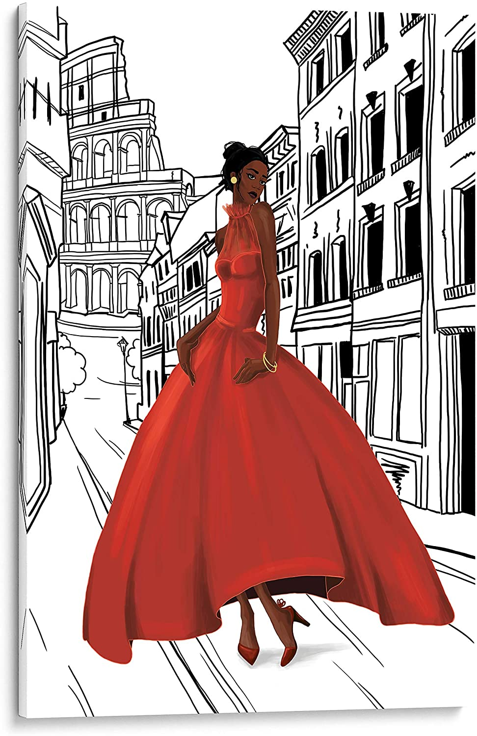 INTALENCE ART Glamour Fashion Woman Canvas Wall Art Feminine Home Decor, 12x18in Girl in Rome Italy Picture Canvas Print, Decoration for Bedroom Living room Office. Gallery Wrap Artwork Easy to Hang.