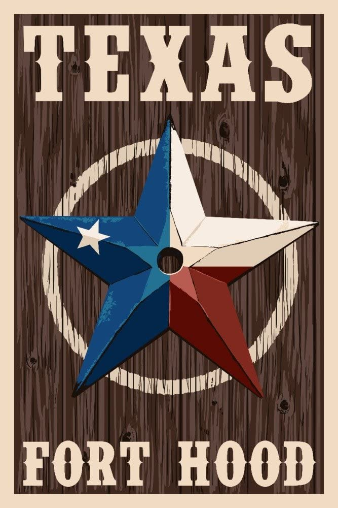 Fort Hood,Texas - Barn Star - Letterpress (9x12 Art Print, Wall Decor Travel Poster)