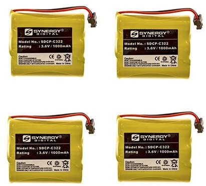 Toshiba TRB-1981 Cordless Phone Battery Combo-Pack Includes: 4 x SDCP-C322 Batteries