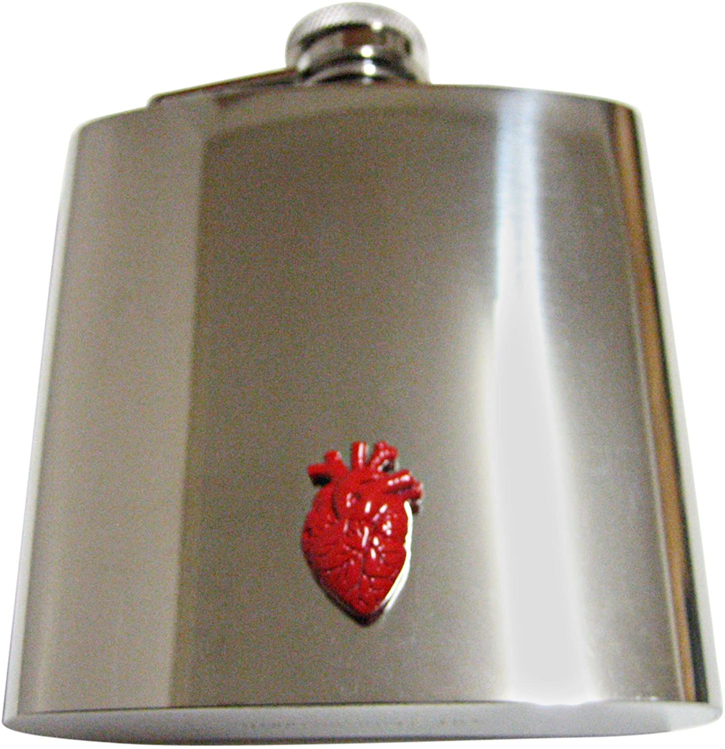 Red Anatomical Heart 6 Oz. Stainless Steel Flask
