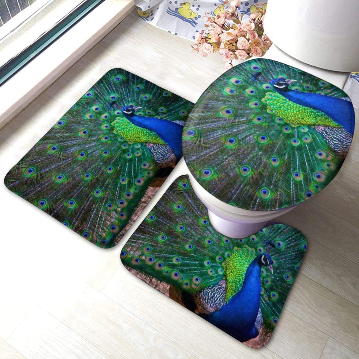 Beautiful Peacock Bathroom Rugs Set 3 Piece Anti-Skid Pads Bath Mat +U-Shaped Contour + Toilet Lid Cover Bath Rug Set