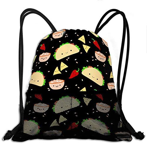 Unisex Gym Drawstring Bags Taco Tuesday Party Sackpack Sports Bag Beam Backpack with 2 Mesh Pockets for Men Women Girls boys Outdoor Hiking Swimming Fitness
