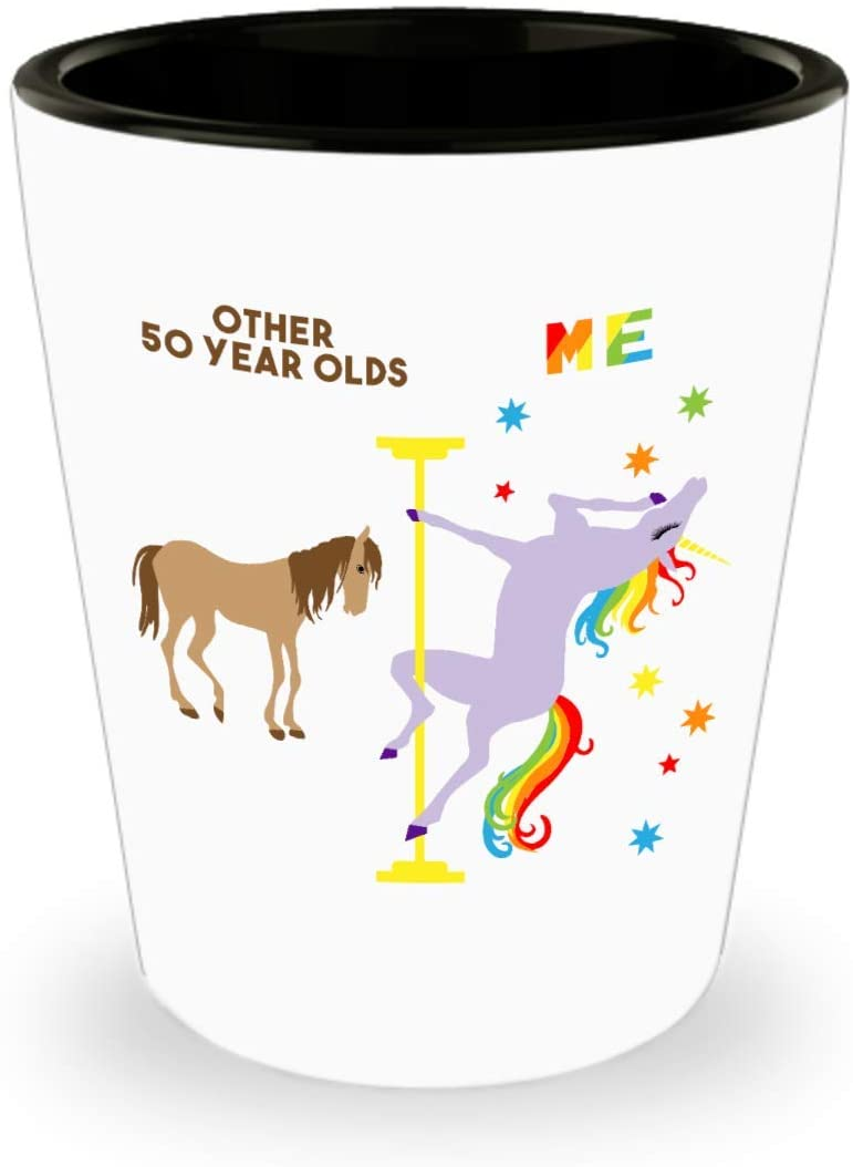HollyWood & Twine 50th Birthday Gift for Women Funny 50th Birthday Present 50 and Fabulous 50th Bday Gifts for Her Fiftylicious Dancing Unicorn Ceramic Shot Glass