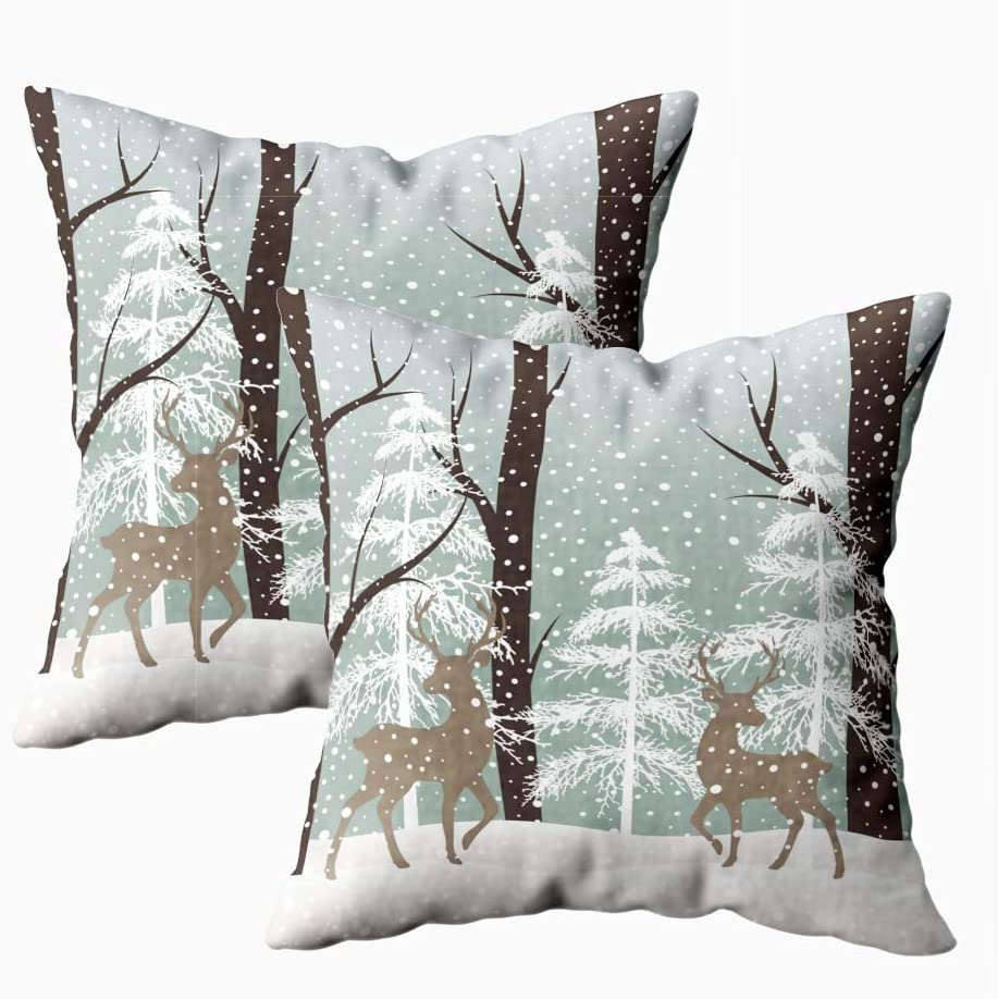 silichee Throw Pillow Covers 18 X 18, Square Throw Pillow Covers Set of 2 Bed Pillow Cover Winter Landscape Tree Cool Pillow Cases for Couch Sofa Bedroom Living Room,Indoor Outdoor