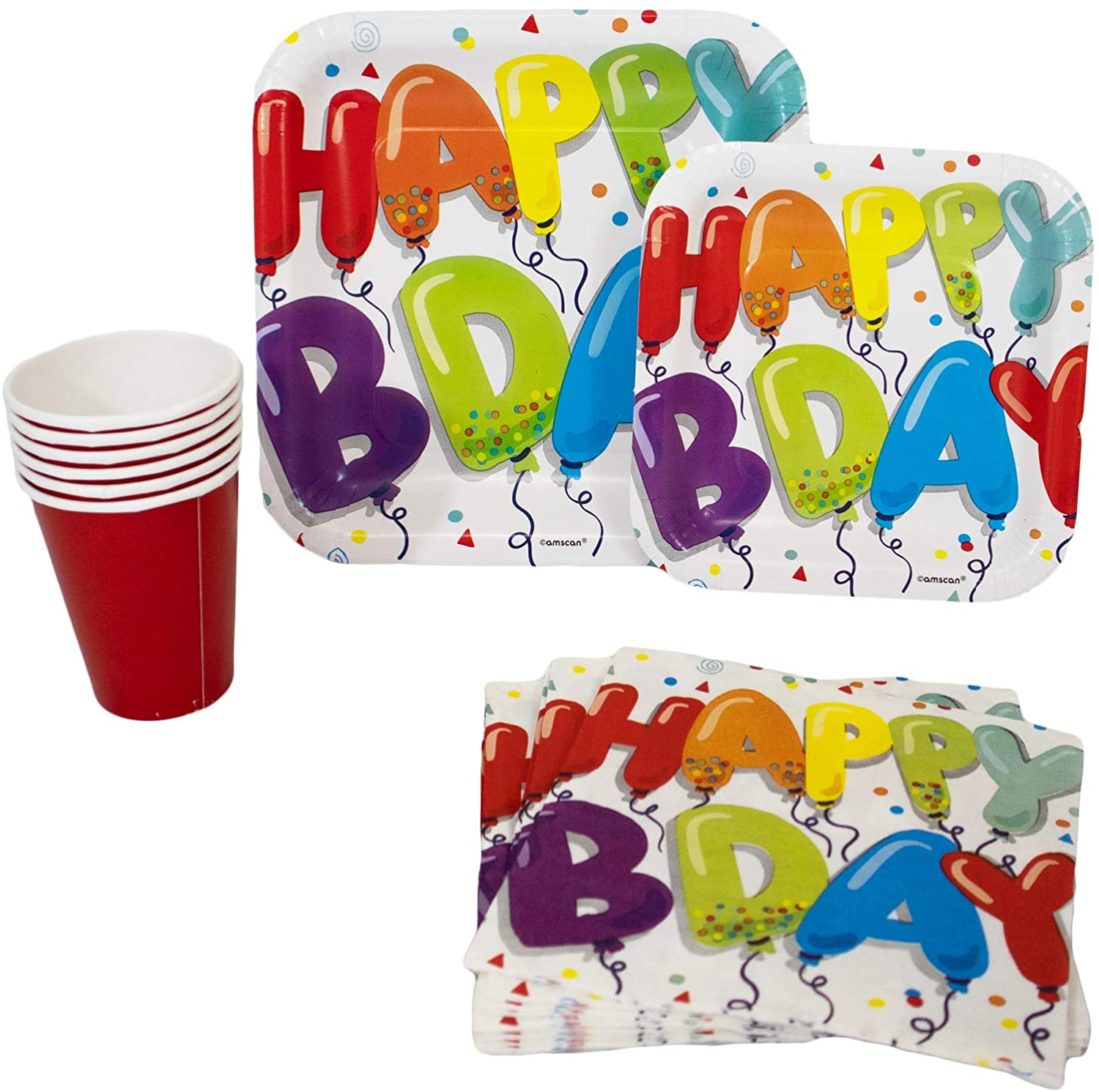 Colorful Happy Birthday Pack! Disposable Paper Plates, Napkins and Cups Set for 18