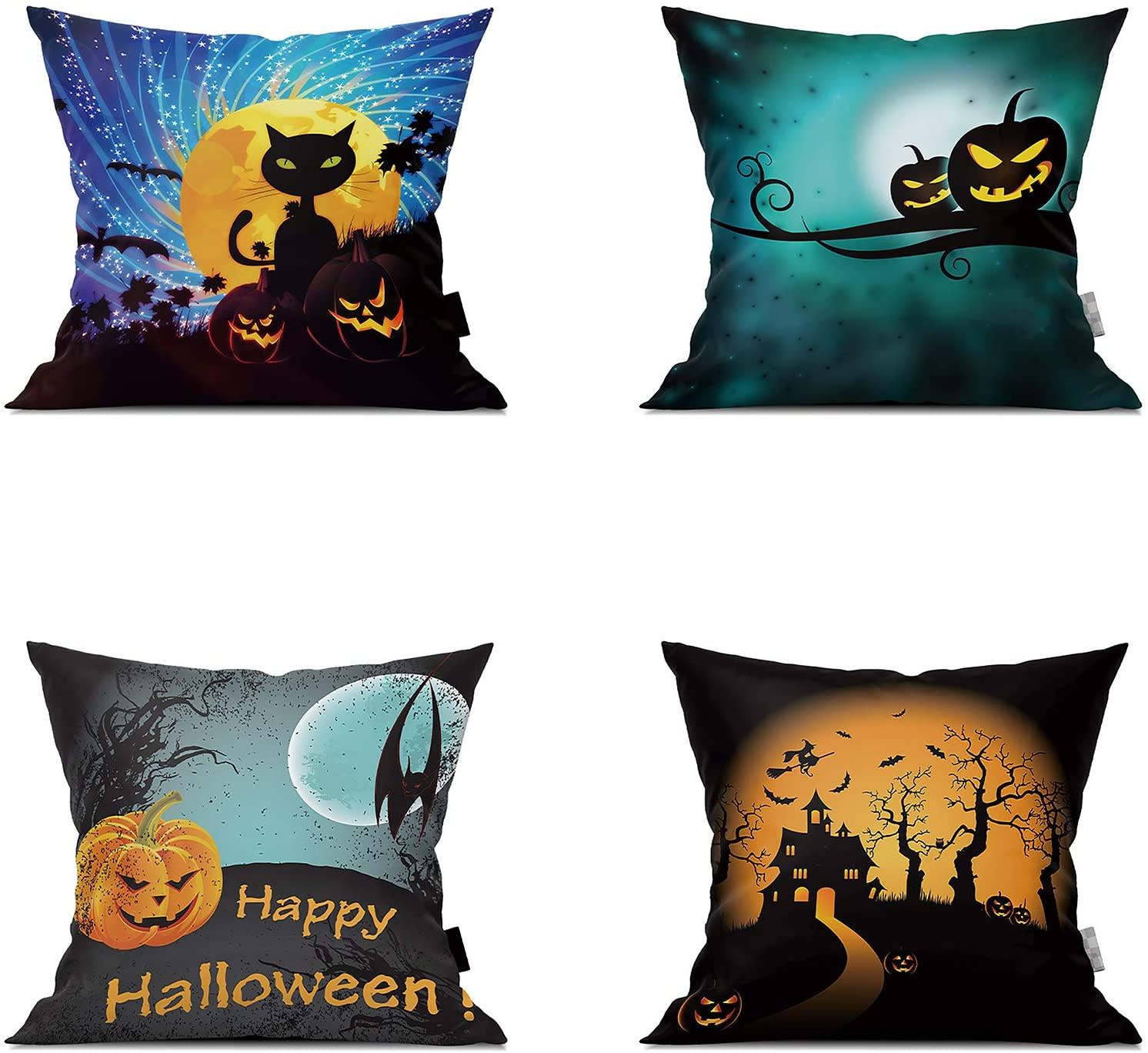 RTYGHJ Halloween Pillow Covers Double Sided Printing 4-Piece Set 18x18 Inch Pumpkin Pillow Castle Cushion Sofa Decorative Pillowcase A1