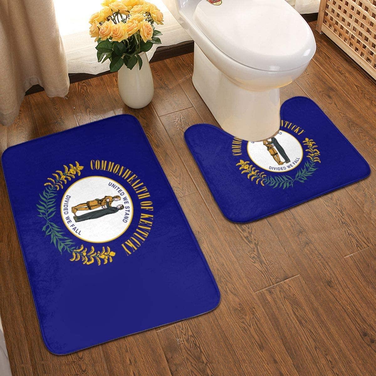 Kentucky Flag Bathroom Rug Mats Set 2 Piece Anti-Skid Pads Bath Mat