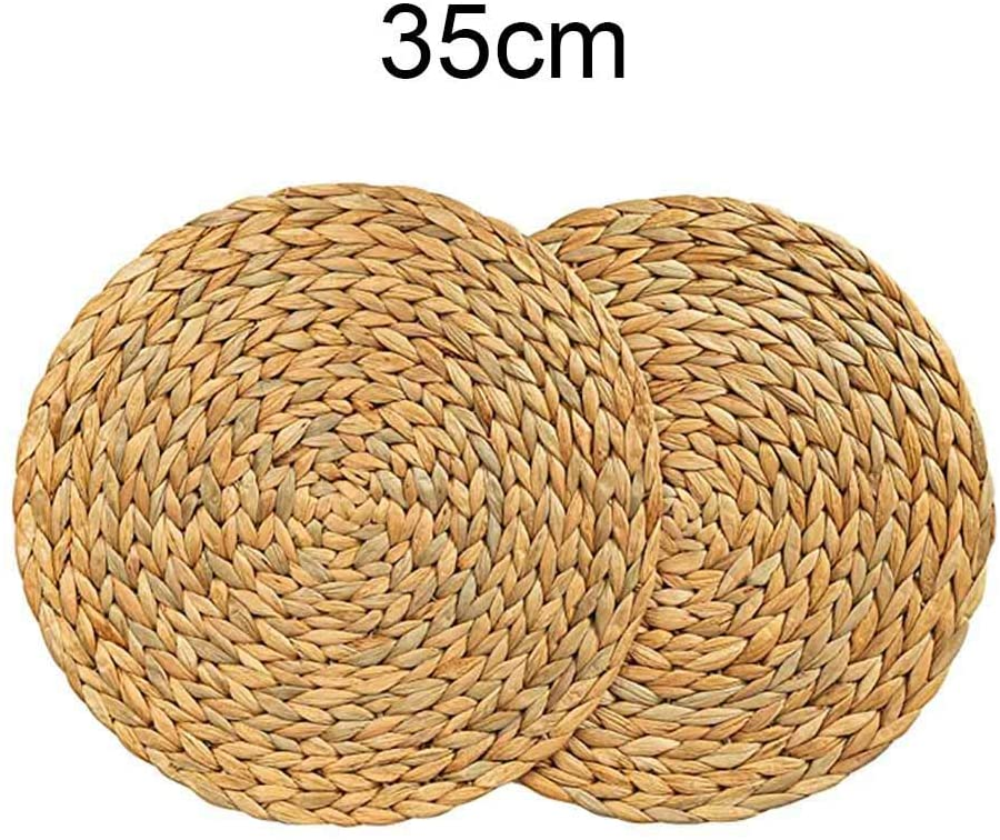 SOOTOP Straw Round Woven Placemats, Heat Resistant Rattan Table Mats Non-Slip Mat Braided Mats with Natural Straw for Home Restaurant Table