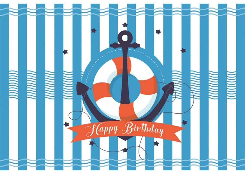 YongFoto 10x8ft Happy Birthday Backdrop Blue Stripes Sailing Photography Background Nautical Theme Birthday Party Events Banner Interior Decor Kids Infant Newborn Portrait Studio Props Wallpaper