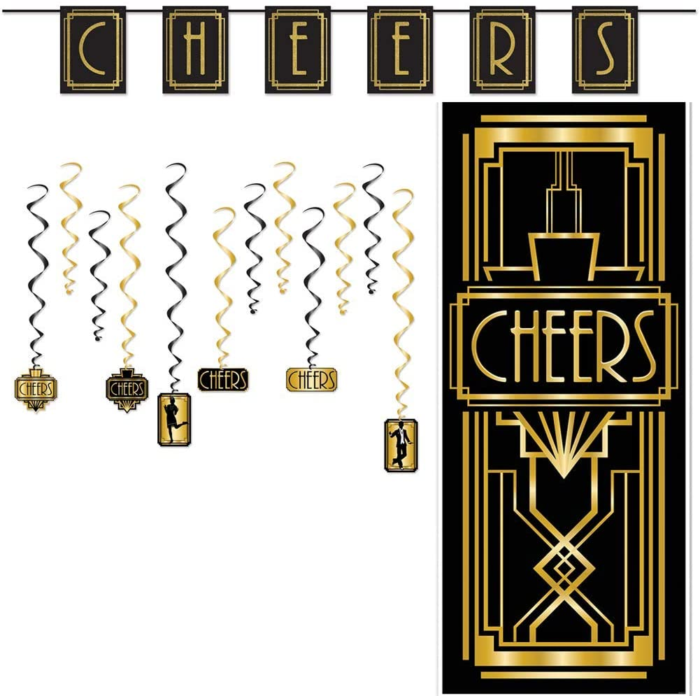 Roaring 20s Party Speakeasy Decorations Prohibition Ends Kit Set Cheers Pennant Banner Cheers Door Cover Cheers 20s Whirls Hanging Decorations