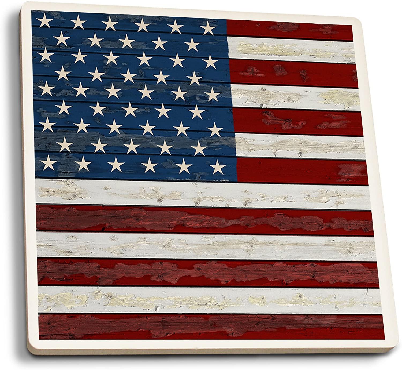 Lantern Press Distressed American Flag (Set of 4 Ceramic Coasters - Cork-Backed, Absorbent)