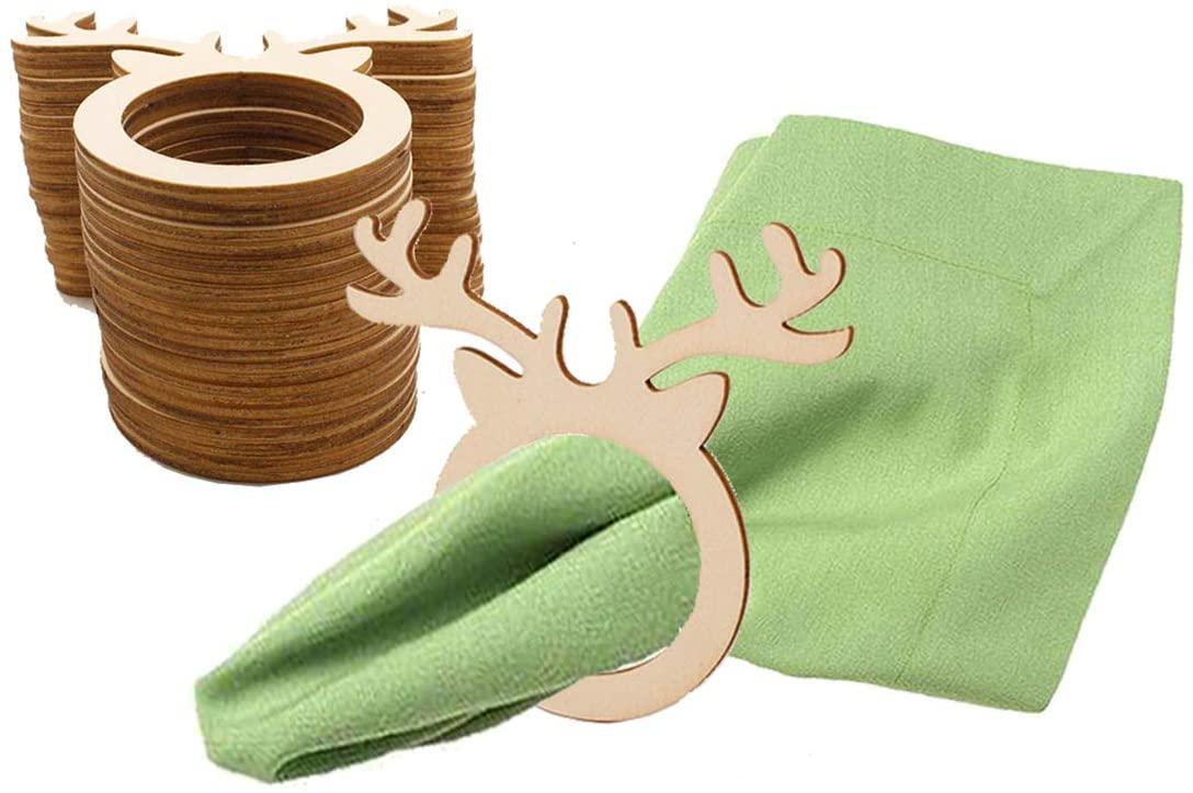 KKBES 20 Pieces Reindeer Napkin Rings Wedding Wood Napkin Rings Christmas Napkin Holder Elk Napkin Rings Dinning Table Setting for Christmas Wedding Holidays