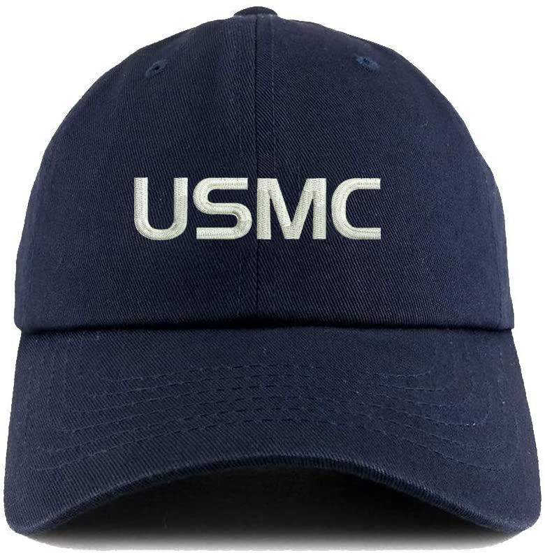 2 Pcs Dark Blue Embroidered USMC Baseball Hats for Men Dad Caps with Design Adjustable Hat