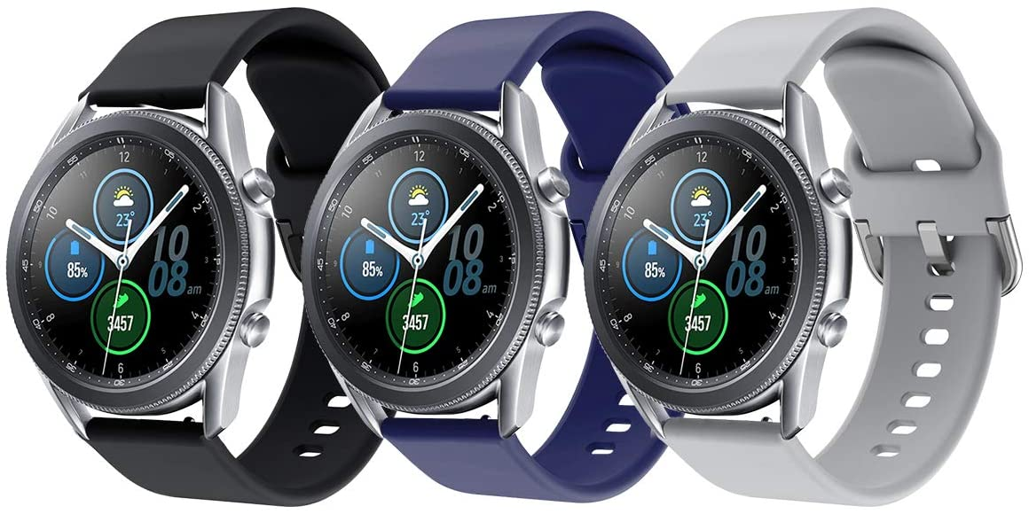 GOSETH Bands Compatible with Samsung Galaxy Watch 3 45mm, 22mm Silicone Wirst Buckle Strap for Samsung Galaxy Watch 3 45mm SmartWatch (Black+Grey+Blue)