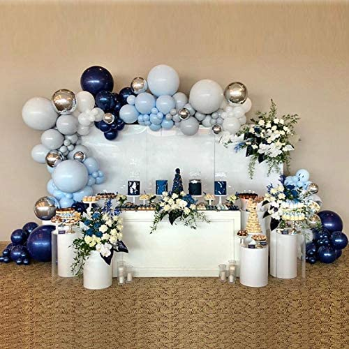 Navy Blue Balloon Arch Garland Kit-Navy Blue Balloon Macaron Blue Balloon Gray Balloon Metallic Silver Balloon 136Pcs for Birthday,Gender Reveal,Baby Shower,Wedding,Engagement,Christmas and Graduation Party Decoration.