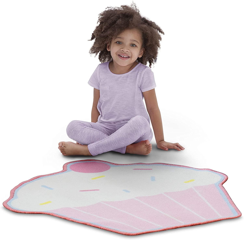 Delta Children Non-Slip Area Rug for Girls, Cupcake
