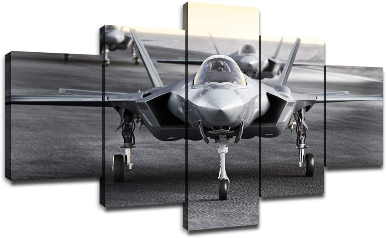 Multiple F35 Military Jet Strike Aircraft Preparing for Takeoff on A Strike MissionWall Decor 5 Piece Canvas Bedroom Decoration Wall Picture Artwork Wooden Frame(60Wx32H)