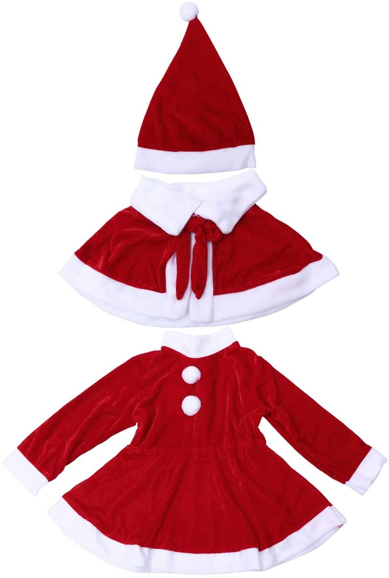 BESTOYARD Christmas Santa Claus Costume hat Dress Outfit for Girls with Cape - Size 150cm