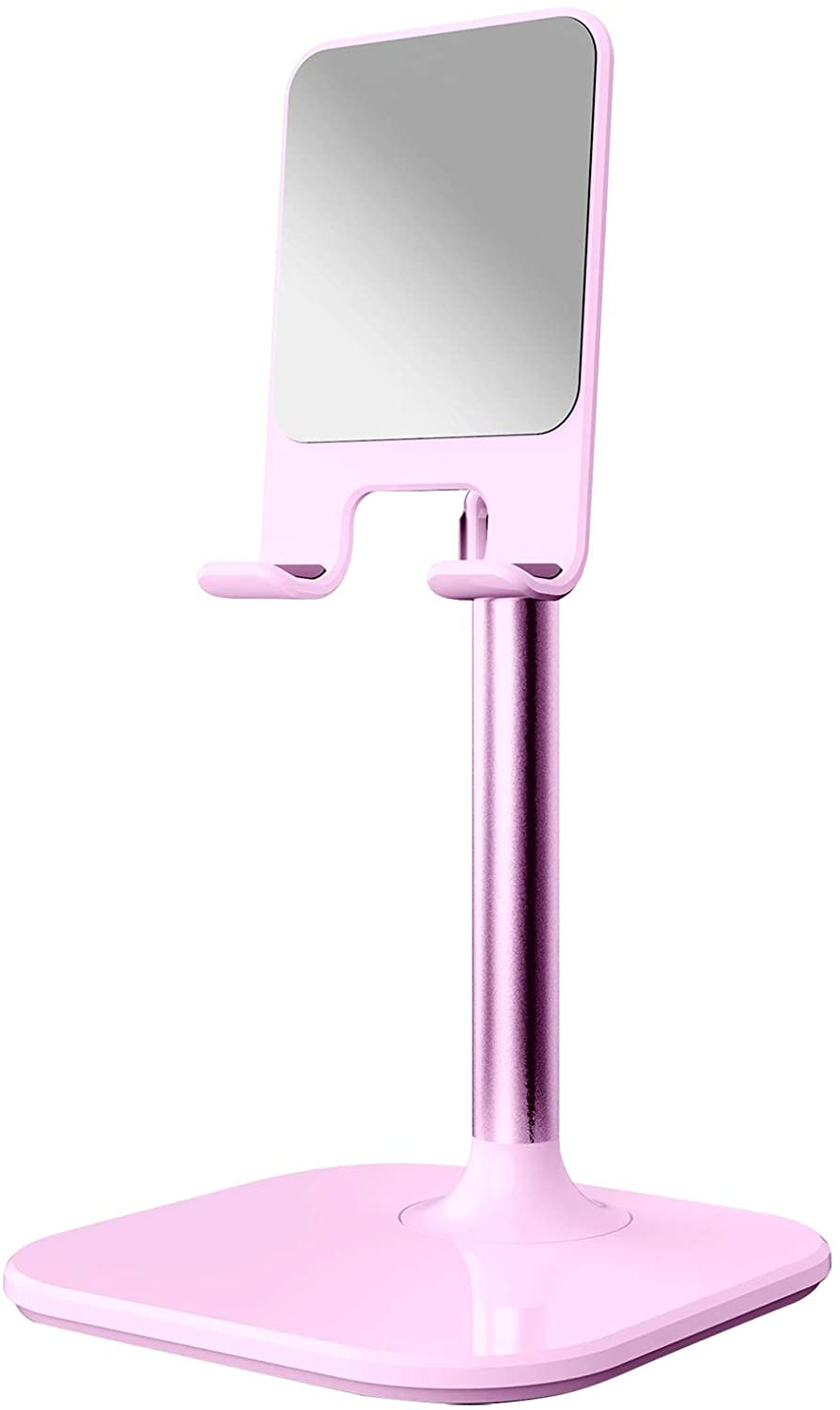 MOHALIKO Cell Phone Stand, Adjustable Cell Phone Stand, Anti-Slip Adjustable Retractable Aluminum Alloy Desktop Phone Tablet Holder Compatible Most of Smartphones Pink
