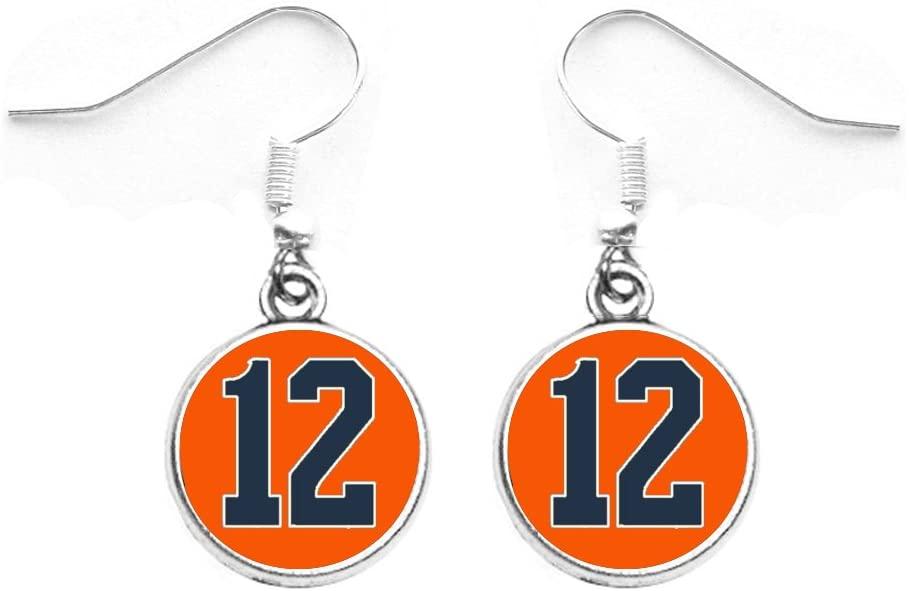 Attitude Arcade Number Earrings (00-99) in Team Colors Orange & Navy Blue