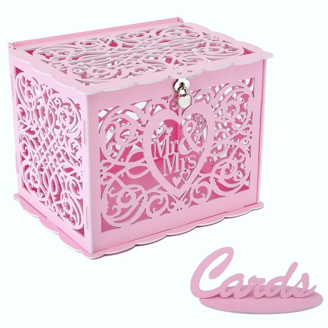 Wedding Card Box, Money Box With Lock Slot,  DIY Wooden Money Box, Used for Wedding Reception, Anniversary, Baby Shower, Birthday Party, Graduation Party Decoration(Pink)