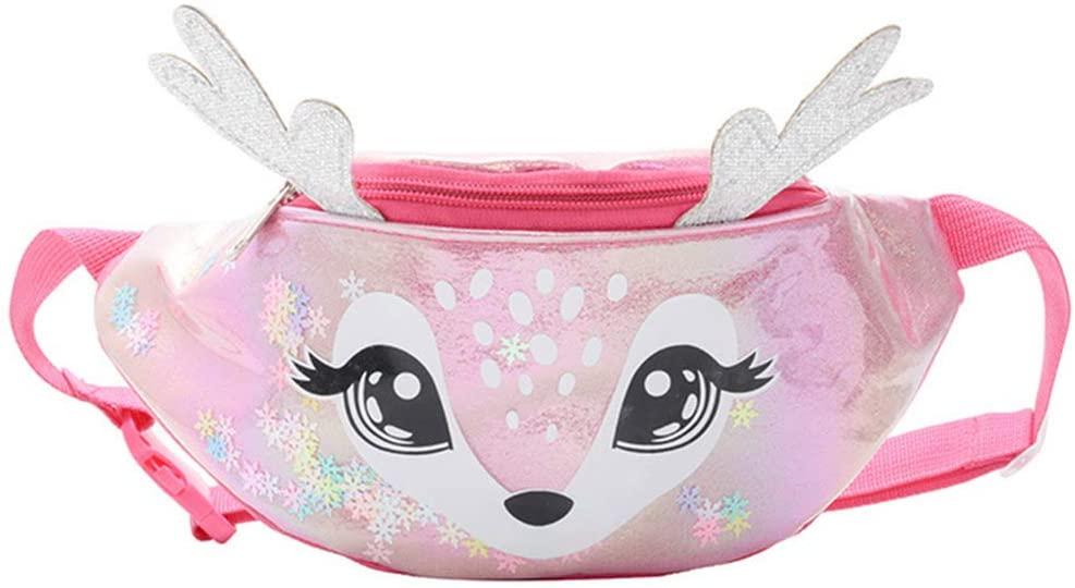 QINREN Kids Elk Print Waist Fanny Pack Belt Pouch Travel Hip Bum Shoulder Bag Purse,Rose Red,PU Leather