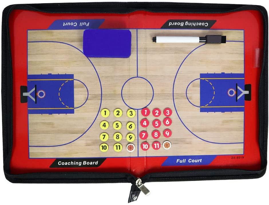 Outonda Basketball Coaching Board Coaches Clipboard Tactical Magnetic Board Kit,Portable Strategy Coach Board with Dry Erase, Marker Pen and Zipper Bag