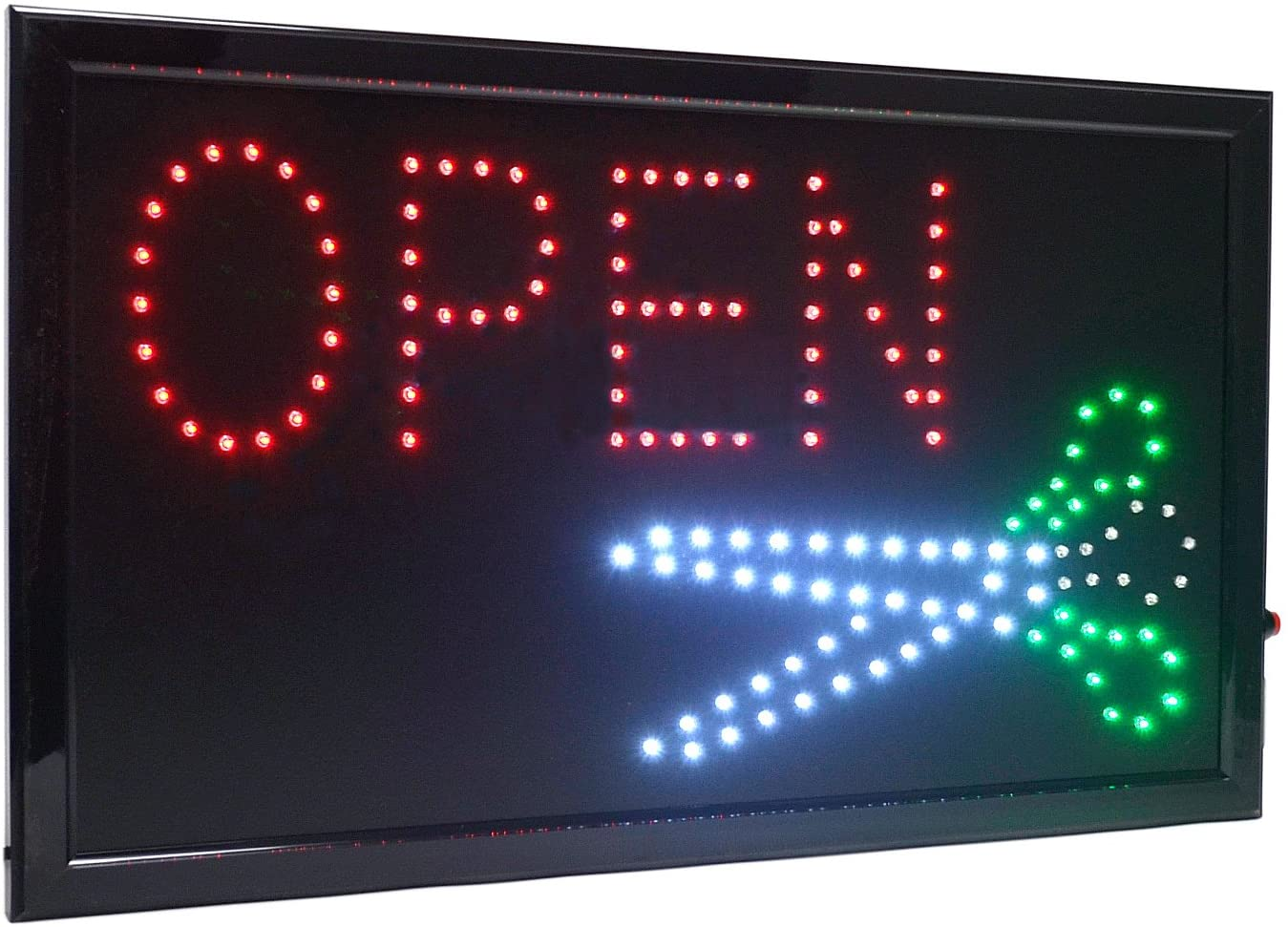 21.5x13 Large High Visible LED Light Business Open Sign with Chain On/Off Button Motion Control (Barber)