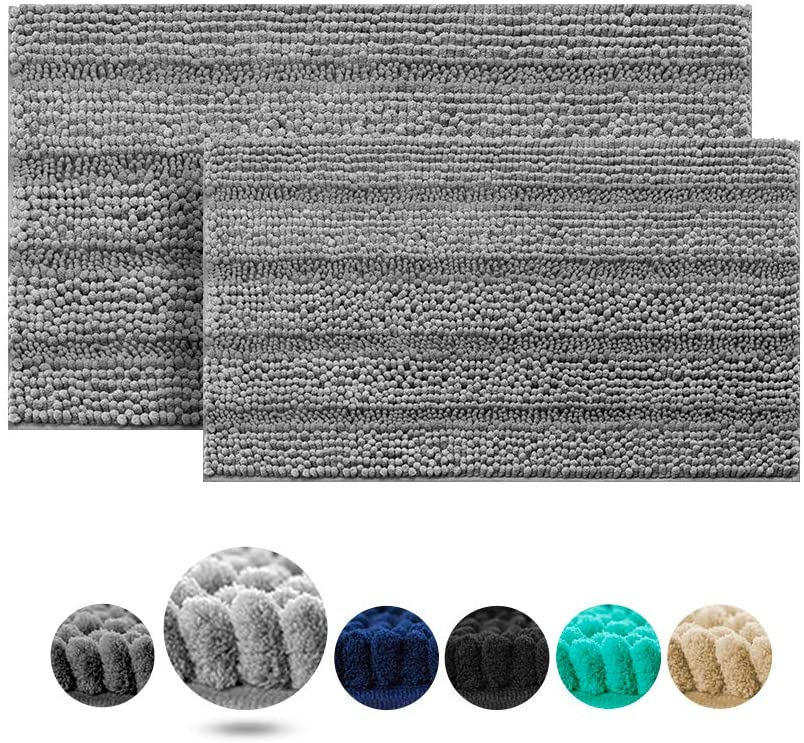 IM Home Extra Thick Light Grey Bathroom Rugs and Mats Set 2 Pieces, Soft Chenille Bath Rugs Non Slip, Absorbent Plush Shaggy Bath Mats for Bathroom, Tub, Toilet, Shower, Machine Washable