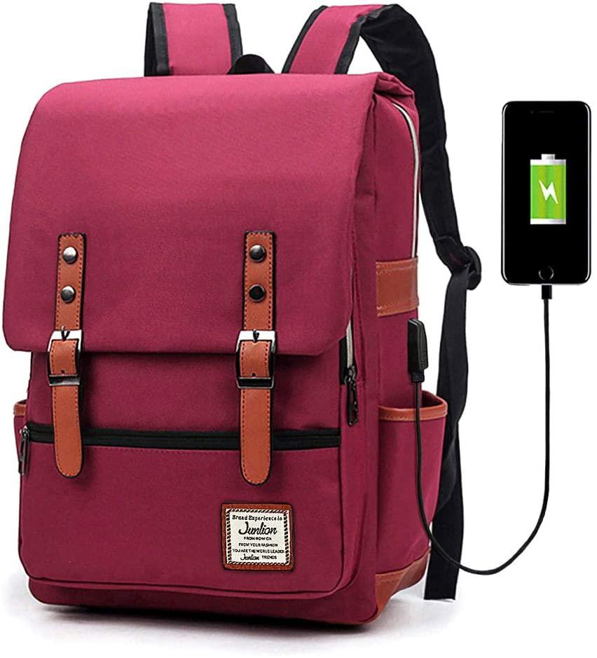 Junlion Unisex Business Laptop Backpack College Student School Bag Travel Rucksack Daypack with USB Charging Port Red