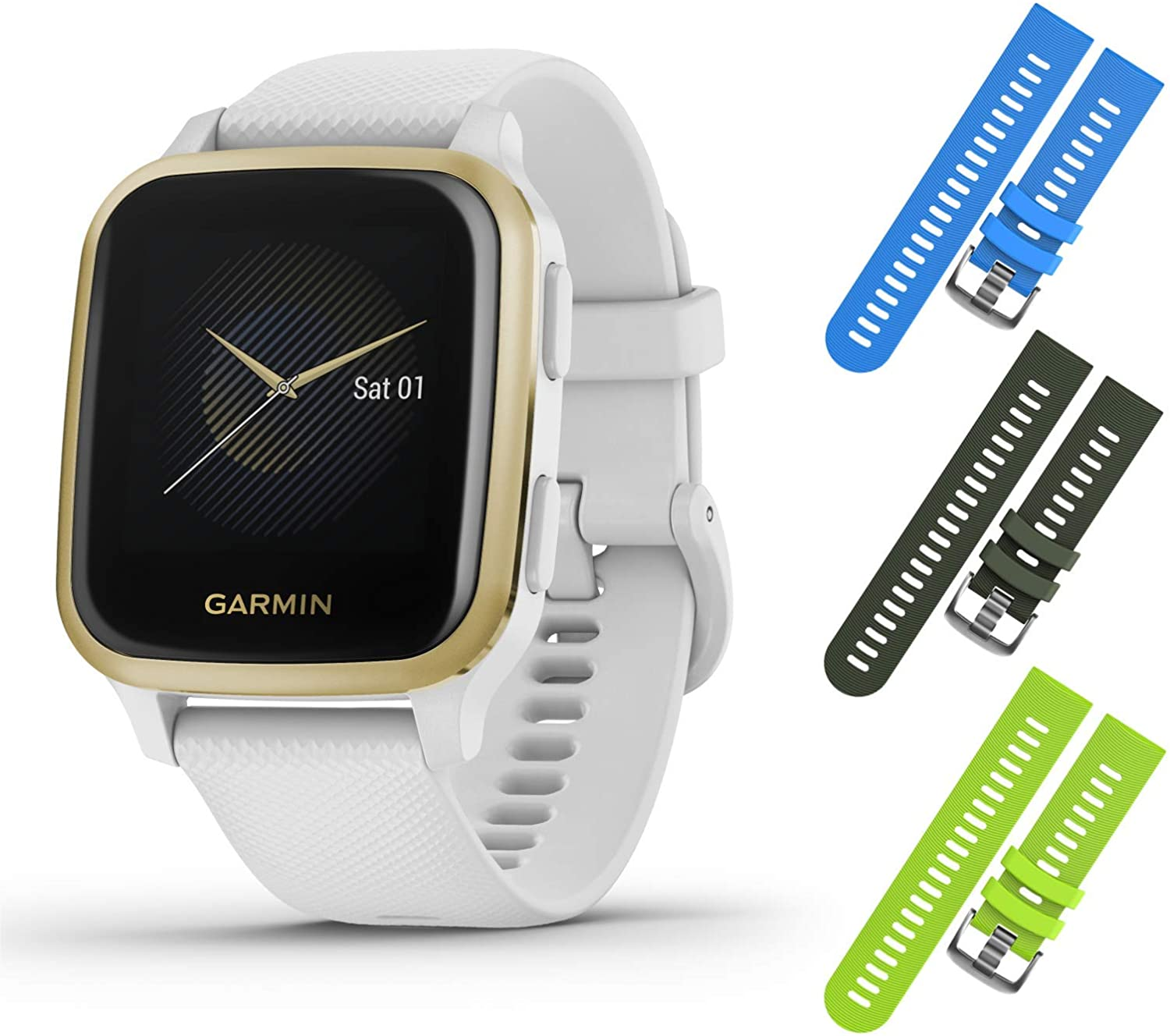 Garmin Venu Sq GPS Fitness Smartwatch and Included Wearable4U 3 Straps Bundle (Blue/Khaki/Lime, White/Light Gold 010-02427-01)