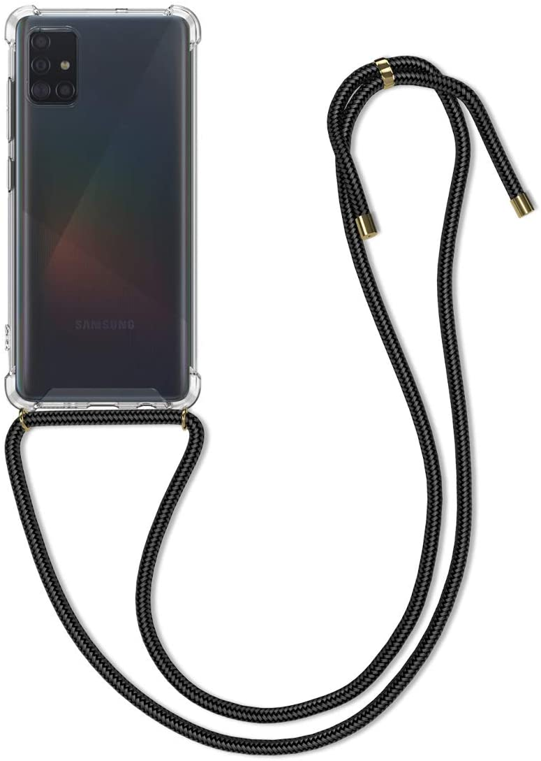 kwmobile Crossbody Case Compatible with Samsung Galaxy A51 - Clear Transparent TPU Cell Phone Cover with Neck Cord Lanyard Strap - Black/Transparent