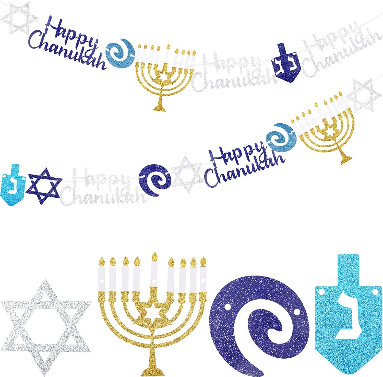 Chanukah Garland Merry Chrismukkah Banner Glitter Blue and Silver Hanukkah Banner for Chanukah Party Supplies Christmas Decorations, Pre-Assembled, 8.2 Feet (2 Pieces)