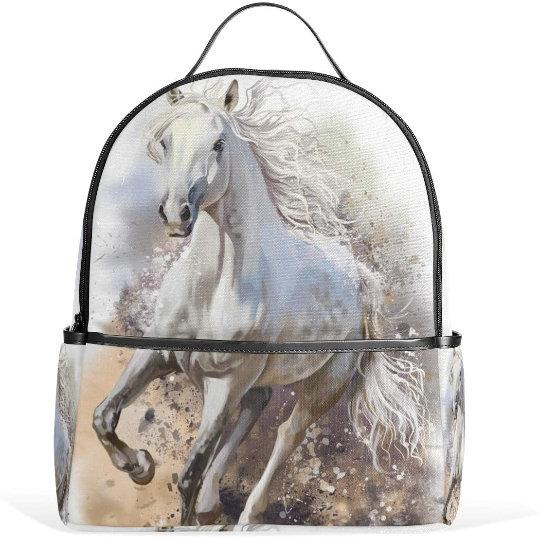 Kids School Backpack White Horse Bookbag for Boys Girls Lightweight Casual Travel Bag Large Capacity Daypack