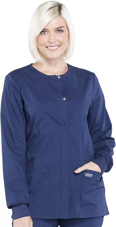 Cherokee Workwear Professionals Snap Front Warm-up Scrub Jacket, L, Navy