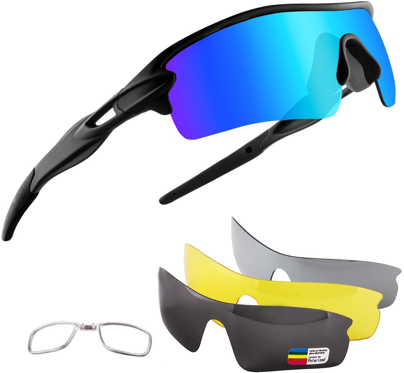 Xiyalai Polarized Sports Sunglasses with 5 Interchangeable Lenses,Mens Womens Cycling Glasses, Running